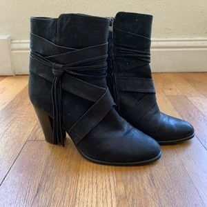 Leather Vince Camino Booties with fringe detail